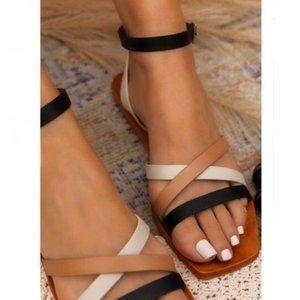 Square Toe Sandals in Multi